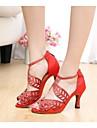 Customizable Women\'s Dance Shoes Latin Silk Stiletto Heel Black/Red/Other