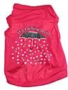 Chat / Chien T-shirt Rouge Rose Vetements pour Chien Printemps/Automne Dessin-Anime / Coeur