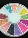 3mm halvcirkel färgstarka pärla nail art dekorationer