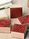 4cm x 4cm cru timbre en bois place romantique de modele de fleur floral (motif aleatoire