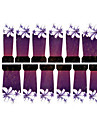 12PCS White Flower Pattern Purple Watermark Nail Art Stickers C7-006