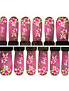 Motif de fleur 12pcs filigrane pourpre autocollants nail art c7-011