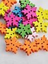 färgrik snowflake formade scrapbook sömnad scraft diy träknappar (10 st slumpvis färg)