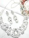 Jewelry Set Women\'s Wedding Jewelry Sets Alloy Diamond Necklaces / Earrings Silver