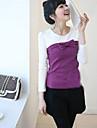 bowknot douce couleur embelli correspondant manches longues t-shirt violet