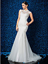 Lanting Bride Trumpet/Mermaid Petite / Plus Sizes Wedding Dress-Sweep/Brush Train High Neck Lace / Tulle