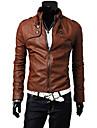 Heide Men's Stand Collar Motor Leather Coat