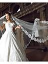 Voal de Nuntă Un nivel Voaluri de Catedrală Margine cu Aplicație de Dantelă 118.11 în (300cm) Tul