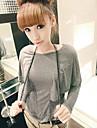 couleur pure manteau manches chauve-souris de style t-shirt gris