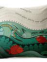 tecknad fisk mönster bomull / linne dekorativa örngott