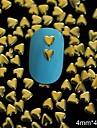 100st 4mm * 4mm gyllene hjärta metall nit nail art dekoration
