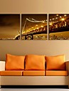E-HOME® Stretched LED Canvas Print Art  The Night Under Bridge Flash effect LED Set of 3