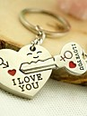 Alloy Silver Plated I Love You Heart Keychain Key Ring for Lover Valentine\'s Day(One Pair)