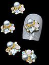 10pcs d\'or 3d strass perle fleur bricolage accessoires en alliage de l\'art de la decoration des ongles