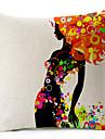 elegant kvinna mönster bomull / linne dekorativa örngott