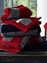 3pcs sensleep® serviettes emballent, noir ou rouge a rayures 100% serviette de coton a la main