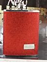 personlig gåva röd 8oz läder kolv