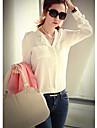 Mengdie Women\'s Lapel Neck Long Sleeve Loose Fit T-Shirt