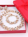 Set bijuterii Perle Imitație de Perle Perle Placat Auriu Auriu Seturi de bijuterii Nuntă Petrecere 1set Coliere Σκουλαρίκια Brățară