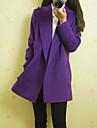 European Fashion solid de culoare cu maneca lunga haina kakani femei