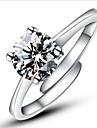 Inele Afirmatoare Inel de logodna Iubire Ajustabile La modă Deschis Clasic Plastic Diamante Artificiale Montaj de Patru Argintiu Bijuterii