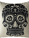 cranio preto de algodao / fronha decorativo linho impressa