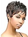Capless mix färg extra kort hög kvalitet naturliga lockigt hår syntetisk peruk med sidan bang