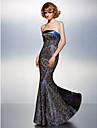 Formeller Abend Kleid Spitze - Meerjungfrau-Linie / Mermaid-Stil - bodenlang - traegerloser Ausschnitt