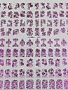 108pcs blandat mönster av blommor lila nail art klistermärken