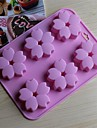 6 håls körsbär blommar formar tårta is gelé choklad formar, silikon 15 × 14,5 × 1,5 cm (6,0 × 5,8 × 0,6 tum)