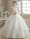 Ball Gown Wedding Dress Floor-length Sweetheart Organza with Criss-Cross / Flower / Tiered