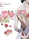 1 st vattentät mångfärgade rosa blommor beige skickas tillbaka mönster tatuering klistermärken