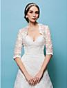 casamento envolve boleros laco branco / bege encolher de ombros bolero
