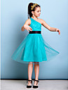 Lanting Bride Knee-length Tulle Junior Bridesmaid Dress A-line One Shoulder with Sash / Ribbon