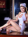 Kvinders Ultrasexet / Uniformer og kinesiske kjoler / Jakkesæt Nattøj Trykt mønster Polyester Hvid Damer
