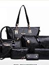 Dam Patentläder Ledig / Kontor / Shopping Axelremsväska / Stor väska / bag set Blå / Röd / Svart