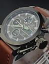 Men's Luxury Cow Leather Sport Military Watch Quartz Analog-Digital LED/Calendar/Chronograph/Water Resistant Cool Watch Unique Watch