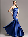 Floor-length Satin Bridesmaid Dress Fit & Flare Strapless Plus Size / Petite with Draping / Ruching