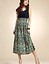 Women\'s Boho Blue/Red/Orange Dress, Beach/Print Round Neck Sleeveless High Rise Midi