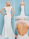 Hochzeitskleid - Elfenbein Chiffon - Meerjungfrau-Linie - Hof-Schleier - Juwel-Ausschnitt UEbergroessen