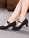 Women's  Dance Shoes Modern Sandals Cuban Heel Black