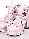 rosa PU läder 7,5 cm hög klack sweet lolita skor med raden