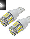 T10 Lampe de Decoration 10 SMD 7020 210lm lm Blanc Froid DC 12 V 2 pieces