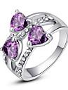 Inele Afirmatoare Cristal imitație de diamant Aliaj La modă Clasic Mov Curcubeu Transparent Bijuterii Petrecere 1 buc