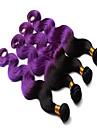 """3pcs / lot mänskliga jungfru hårförlängningar 2 tonar ombre färgen lila 100% brasilianskt hår buntar vågigt hår väva 10 """"-34"""""""