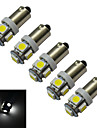 BA9S Lampe de Decoration 5 SMD 5050 70-100lm lm Blanc Froid DC 12 V 5 pieces