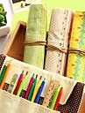 fashionabla enkla frossa duk tre trä penna väska (slumpmässig färg)