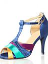 Chaussures de danse(Bleu) -Non Personnalisables-Talon Aiguille-Satin-Latine