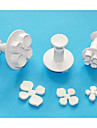 fyra c hortensia plastkolv cutter set 3, fondant / sugarcraft / gumpaste / marsipan fräsar