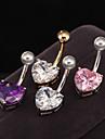 Dame Bijuterii de corp Navel & Bell Button Rings Teak Zirconiu Zirconiu Cubic Design Unic La modă Heart Shape Bijuterii Alb Mov Roz Auriu